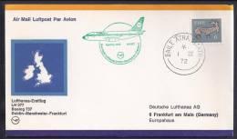 FIRST FLIGHT - Lufthansa LH077 Dublin-Manchester-Frankfurt - 01 April 1972 - FDC