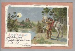 """Motiv Gruss Aus """"Behüt Dich Gott"""" Litho Rösch&Winter 1899-08-02 - Souvenir De..."""