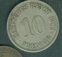 ALLEMAGNE .Pièce De 10 Pfennig 1908 A - Pieb 4706 - [ 2] 1871-1918: Deutsches Kaiserreich