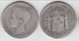 **** ESPAGNE - SPAIN - 1 PESETA 1902 ALFONSO XIII - ARGENT - SILVER **** EN ACHAT IMMEDIAT - [ 1] …-1931 : Royaume