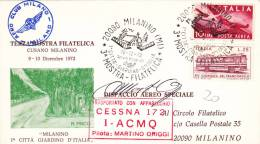 Milanino 1972 - Mostra Filatelica - Aero Club Milano Cessna - Marcophilie - EMA (Empreintes Machines)
