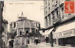 """30-Alais ( Alès) Rue St-Vincent-La Cathédrale- Enseigne """" A La Cité Ouvrière""""-Cpa - Alès"""