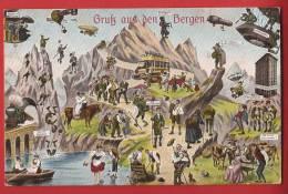 Y0401 Gruss Aus Den Bergen Humor Fantaisie Postauto . Militär Feldpost,cachet Militaire - Non Classés
