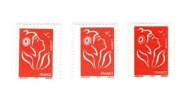 3 Lamouche TVP Rouge ITVF YT 3734 + 3734a Type I + II + Piquages Décalés . Pas Courant , Voir Le Scan . Maury > 19.70 € - Variedades: 2000-09 Nuevos