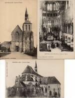 Lot 3 CPA Montier En Der : Façade De L'Eglise + Choeur De L'Eglise + Chevet De L'Eglise - Montier-en-Der