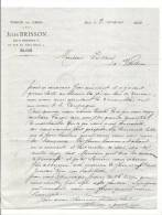 """Courrier, Tissus En Gros """"Jules Brisson"""" - Blois (41) - 1884 - Vieux Papiers"""