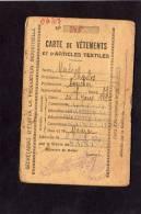 SAINT JUST LUZAC   1942  CARTE RATIONNEMENT VETEMENT ET TEXTILES - Documents Historiques