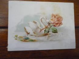 Cygne Et Rose En Relief - Trade Cards