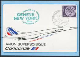 1982 Switzerland USA Geneve - New York Concorde Flight Postcard - Concorde