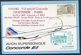 1982 Ostend Belgium - Paris Air France Concorde First Flight Postcard - Concorde