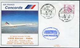 1982 Liege Belgium - Paris Air France Concorde First Flight Cover - Concorde