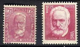 FRANCE   1933-1935 Y&T  293+304 ** GOMME ABIMEE Victor Hugo - 1fr25 - Ungebraucht