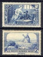 FRANCE   1935-1936 Y&T  307+311 ** GOMME ABIMEE Chomeurs Intellectuels / Moulin Daudet - France