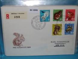 SC0006 FDC Pro Juventute, Tiere, Eichhörnchen, Fuchs, Gämse, Hase, CH 1966 - Marcophilie