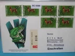 SC0368 FDC Schützt Die Tiere, Reh, Bambi, Frosch, Schwalbe, Schweiz 1976 - Marcophilie