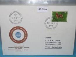 SC0559 FDC Schützt Die Tiere, Reh, Bambi, Frosch, Schwalbe, Schweiz 1976 - Marcophilie