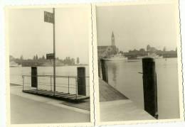 SUISSE  PHOTOGRAPHIE DE 1951 LE PORT DE ROMANSHORN AVEC BATEAU LE ZURICH LOT DE 2 PHOTO - Lieux
