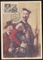CARTE MAXIMUM CM Card USSR RUSSIA Literature Spain Cervantes Don Quichotte Horse Painting Rudakov - 1923-1991 URSS