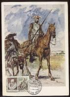 CARTE MAXIMUM Mail Used CM Card USSR RUSSIA Literature Spain Cervantes Don Quichotte Horse Painting Serov - Maximumkaarten