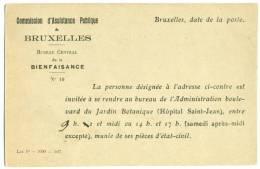 BRUXELLES. Cp Admistrative Commission D'Assistance Publique 1927. 2 Scans. - Brussels (City)