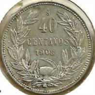 CHILE 40 CENTAVOS LAUREL LEAVES FRONT & BIRD EMBLEM BACK 1908 AG SILVER VF KM163 READ DESCRIPTION CAREFULLY !!! - Chile