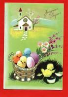 440 -  Carte Postale -JOYEUSES PAQUES - Carte Signée GG - Poussins, Oeufs, Panier, église, Fleurs ...... - Pasqua