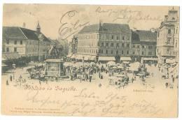 ZAGREB Pozdrav Iz Sagreba Lelacicev Trg Market Street Life Hungarian Stamp 1898 - Kroatien