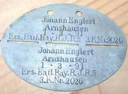Plaque D'Identité Bavière WW1 - 1914-18
