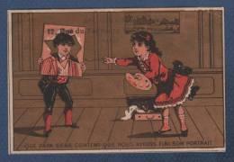JOLI CHROMO ANCIEN AD. GODCHAU VETEMENTS  RUE DU FAUBOURG MONTMARTRE PARIS - QUE PAPA SERA CONTENT .. PORTRAIT - ENFANTS - Chromos