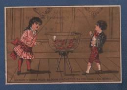 JOLI CHROMO ANCIEN AD. GODCHAU VETEMENTS RUE DU FAUBOURG MONTMARTRE PARIS - AQUARIUM POISSONS ROUGES ENFANTS - MAMAN ... - Otros