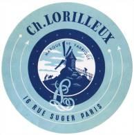 ETIQUETTE CH. LORILLEUX MARQUE DE FABRIQUE 16 RUE SUGER PARIS DIAMETRE 124 MM - Etiquetas