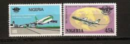 Nigeria 1984 N° 457 A / B ** Avion, Aviation Civile, OACI, Décollage, Vol Circumterrestre, Tour De Controle, Globe - Nigeria (1961-...)