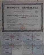 OBLIGATION 100 FRANCS BANQUE GENERALE 1937 - Banque & Assurance