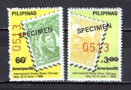 "Philippines 1986 Michel 1735-36 International Philatelic Stamp Exhhitibion Ameripex Set With ""Specimen"" Overprint MNH - Filippine"