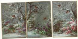 CHROMO Légèrement Gaufrée (3 Petites Chromos) Hiver Neige Oiseaux Rouge-gorge Fleurs - Trade Cards
