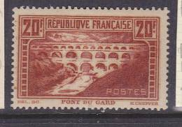FRANCE N°262 20F PONT DU GARD TIRAGE ROTATIF PAPIER NORMAL NEUF AVEC CHARNIERE - France