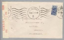 Südafrika 1944-09-20 Johannesburg Zensurbrief Nach Liestal CH - Afrique Du Sud (1961-...)