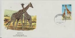== KENYA FDC Flora Fauna Giraffe  1989 - Kenia (1963-...)