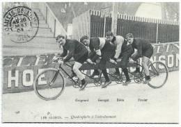 Les Sports Quadruplette à L'entraînement, Cyclistes: Guignard, Georges, Bière, Fossier, REPRO Format Cpm - Radsport