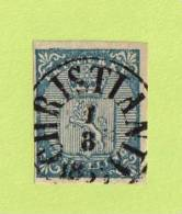 """NOR SC #1  1855 Coat Of Arms W/SON (""""CHRISTIANIA / 3-1-185(6?)"""" CV $175.00 - Norway"""