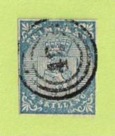 """NOR SC #1  1855 Coat Of Arms  """"42"""" In 3-ring Target  4 Sm Margins, CV $175.00 - Used Stamps"""