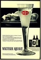 Reklame Werbeanzeige  ,  Malteser Aquavit  -  Eiskalter Malteserkreuz Gehört Zu Delikaten Vorspeisen  ,  Von 1971 - Andere Sammlungen