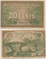 French Indochina 20 Cents 1939 P-86d VF+ (BT 346578) - Indochina