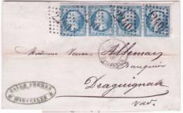 1865- Lettre De 2 MARSEILLE 2 Affr. Bande De 4 N°22  Oblit. G C 2240 Pour Draguignan ( 3 è échelon ) - Marcophilie (Lettres)