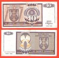 CROATIA - KRAJINA - KNIN  10 Dinara 1992 .g.  (K 1 ) - Joegoslavië