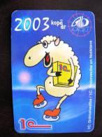 Calendar From Latvia 2003 Year, Animal Sheep On Skate, Andi - Calendarios