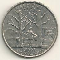 USA 25 Cent 2001 D  Vermont KM #321 - 1999-2009: State Quarters