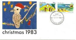 AUSTRALIA FDC CHRISTMAS BIRD SANTA DRAWINGS DATED 02-11-1983 CTO SG? READ DESCRIPTION !! - 1980-89 Elizabeth II