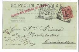 VER2471 - REGNO , Da Torino 22/7/1907 : Pubblicità De Paolini Matossi & C - 1900-44 Vittorio Emanuele III