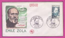 1840 EMILE ZOLA 1902   Premier Jour 4 FEV. 1967 PARIS - FDC